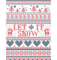 seamless christmas pattern let it snow stitched vector image vector image