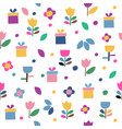 seamless pattern of flowers and gifts icons on a vector image vector image