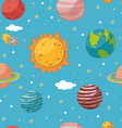 seamless pattern with planets and sun vector image