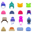 set cartoon winter hats cap beanie vector image