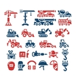 Set color icons of construction equipment vector image