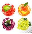 set fruit in juice splash peach black vector image