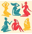 Set of elegant femininity woman silhouettes vector image