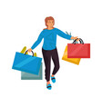 shopping cartoon woman holding bags female vector image