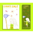 Summer sale banner with cute girl vector image vector image