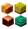 Textures for Platformers Icons Cubical Set vector image vector image