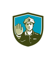 Traffic Policeman Hand Stop Sign Shield Retro vector image vector image