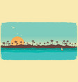 tropical island paradisevintage poster background vector image vector image