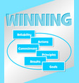 winning strategy business concept in simple blue vector image