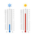 hot and cold weather temperature symbols vector image