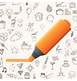 Orange marker with set of doodle icons vector image