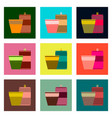 set pixel icons can of soda and glass vector image