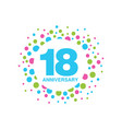 18th anniversary colored logo design happy vector image vector image