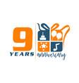 9 years gift box ribbon anniversary vector image vector image