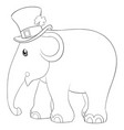 a children coloring bookpage a cute elephantwith vector image