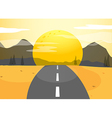 A narrow road and a sunset view vector image vector image