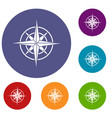 ancient compass icons set vector image