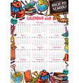 back to school autumn 2018 calendar sketch vector image vector image
