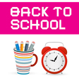 Back to School Paper Title with Alarm Clock Cup vector image vector image
