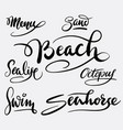 Beach and sea life hand written typography