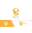 box and hands logo combination package and vector image vector image