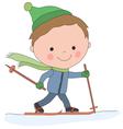 boy skiing vector image