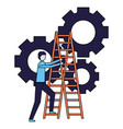 business man climb stairs gears work vector image vector image