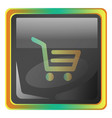 cart grey square icon with yellow and green vector image vector image