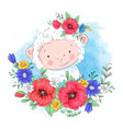 cartoon a cute sheep in a wreath vector image vector image