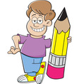 Cartoon boy holding a large pencil