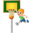 cartoon boy playing basketball vector image