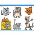 cartoon cat characters collection vector image vector image
