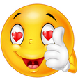 Cartoon smiley love face and giving thumb up vector image vector image