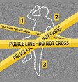 crime scene contour body with chalk vector image