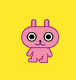 cute cartoon character pink rabbit art with vector image vector image