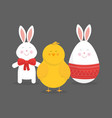 cute easter bunny chicken and egg vector image vector image