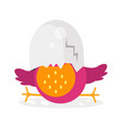 cute newborn bird character funny chick in egg vector image vector image