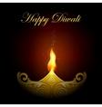 decorated diya for happy diwali vector image vector image