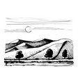 dunes on background trees vector image vector image
