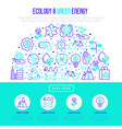 ecology and green energy concept in half circle vector image vector image