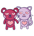 enamored bear and cat couple animals vector image vector image