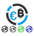 euro bitcoin diagram flat icon vector image vector image