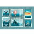Excursion sea stamp set Summer Vacation vector image vector image