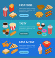 fast food banner horizontal set isometric view vector image vector image