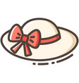 female hat line color icon vector image vector image