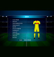 football scoreboard broadcast graphic template vector image