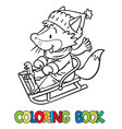funny fox rides on sleigh or sled coloring book vector image