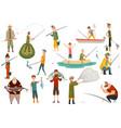 group fishermans fishing with fish set fishing vector image vector image