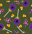 halloween candy seamless pattern vector image vector image