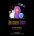 halloween party poster on black background vector image vector image